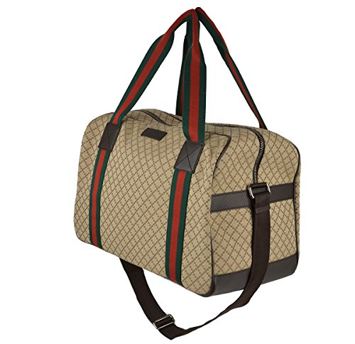 Gucci Beige Ebony Diamond Canvas Travel Duffel Handbag Web Detail  (Large Gucci Bags)