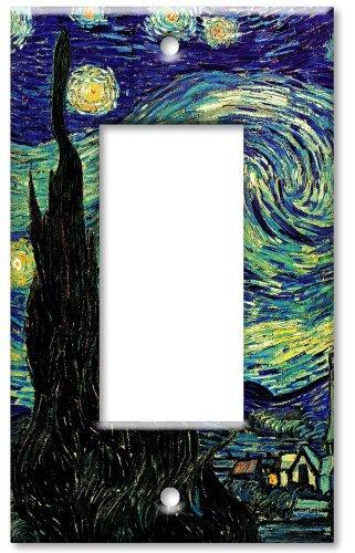 [Art Plates® - Single Gang Rocker OVERSIZE Switch Plate - Van Gogh: Starry Night] (Oversize Light Switchplates)