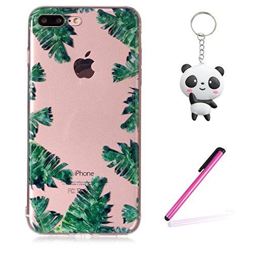 Coque iPhone 8 Plus Feuilles vertes Premium Gel TPU Souple Silicone Transparent Clair Bumper Protection Housse Arrière Étui Pour Apple iPhone 8 Plus + Deux cadeau