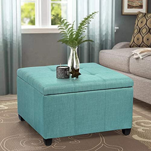 Homebeez Tufted Storage Ottoman Square Fabric Footrest Stool Bench with Hinged Lid , Small, Light Green
