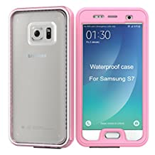 Samsung Galaxy S7 Waterproof Case [New Version] IP68 Waterproof Snowproof Dirtpoof Shock Resistant Protective Case Cover with Viewing Kickstand Fingerprint Recognition Touch ID for Galaxy S7 (pink)