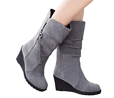 8643683fb4e8 Image Unavailable. Image not available for. Color  Esharing Winter Wedges  Knee High Boots Mid Calf Dress Stretch Thigh High Sock Womens Faux Suede