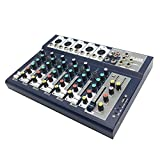 Hestio Mini Professional 7 Channel Live Studio Audio Mixer USB Mixing Console KTV 48V