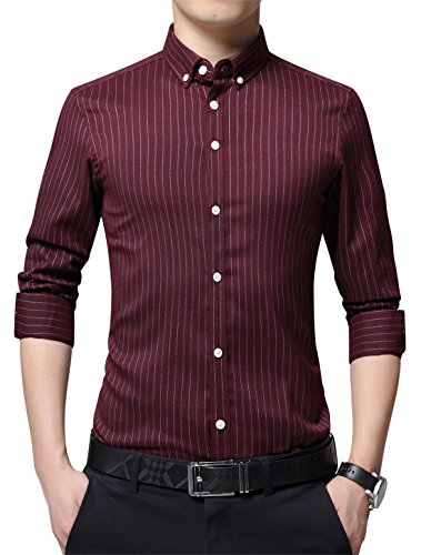 (XTAPAN Men's Non Iron Stretch Vertical Striped Business Regular Fit Button Down Dress Shirt Maroon Asian 2XL=US S 1801)