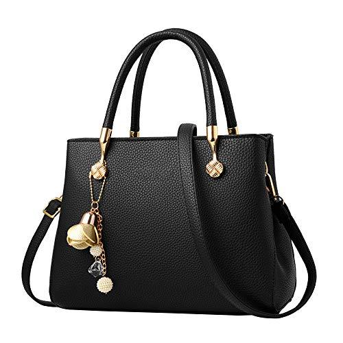Sac à main pour femme Leisure Classic Fashion Pu Épaule Fourre-tout Mère Messenger Satchel Noir