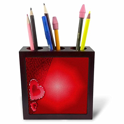 3dRose ph_9305_1 Stained Glass Hearts-Tile Pen Holder, 5-Inch ()