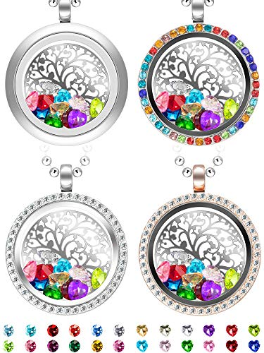 Chuangdi 4 Pieces Tree Life Necklace Memory Floating Locket Pendant Family Tree with Birthstones and Charms Stainless Steel Round -