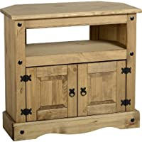 P&N Homewares Corona Corner TV Stand Unit in Distressed Waxed Pine Rustic Mexican Stand