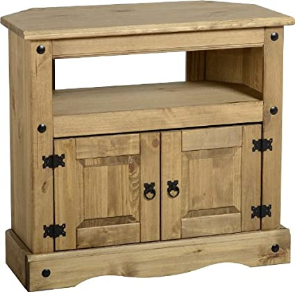 PN Homewares Corona Corner TV Stand Unit In Distressed Waxed Pine Rustic Mexican