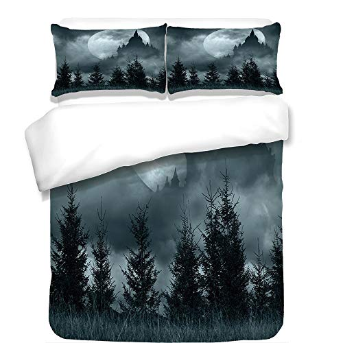 iPrint 3Pcs Duvet Cover Set,Halloween,Magic Castle Silhouette Over Full Moon Night Fantasy Landscape Scary Forest,Grey Pale Grey,Best Bedding Gifts for Family/Friends