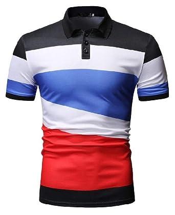 pipigo Mens Polo Shirt Short Sleeve Color Block Casual Summer T Shirt