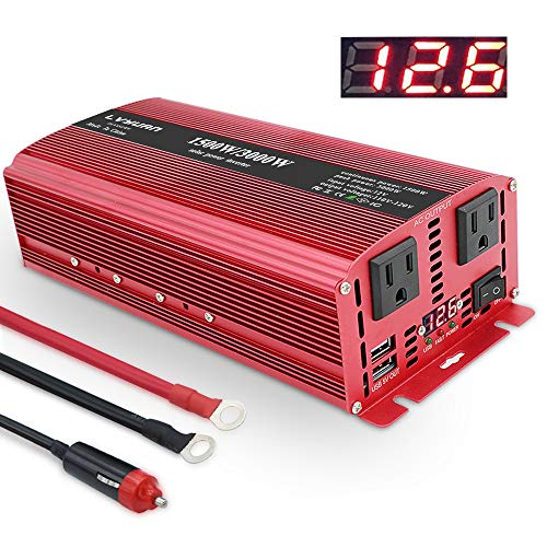 Yinleader 1500W/3000W(Peak) DC 12V to 110V AC Power Inverter with Dual AC Outlets and Dual 3.1A USB Ports for RV Caravan Truck Laptop iPad iPhone(Cables+ Cigarette Lighter + Replaceable Fuses)(Red)