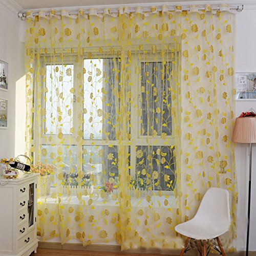voberry floral curtain floral screens bedroom home curtain 200x100cm yellow - Retro Curtains