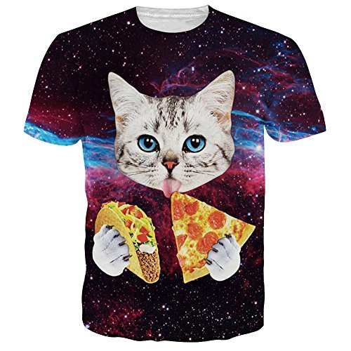 Uideazone men's Galaxy Cat Eat Pizza Short Sleeve T-shirt Tee Tops,cat3,Asia M= US S