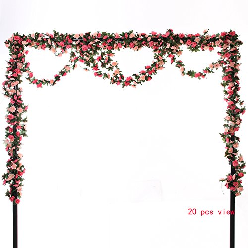 Felice Arts 5pcs Artificial Flowers 41FT Fake Plastic Fabric Silk Artificial Rose Flower Wisteria Ivy Hanging Vine Garland for Home Wedding Table Decoration