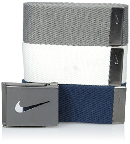 Nike Men's 3 Pack Web, White/Gray/Navy, One Size - Nike Reversible Belt Accessories