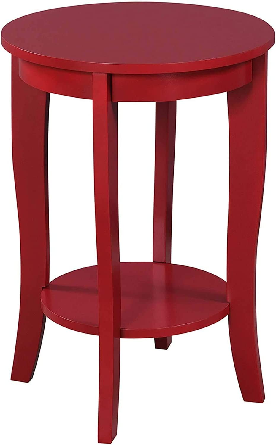 Convenience Concepts American Heritage Round End Table, Cranberry Red