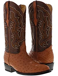 Men's Cognac All Real Ostrich Quill Skin Cowboy Boots J Toe