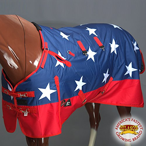 HILASON 75' 1200D 400 GSM Horse Waterproof Blanket Heavy Duty Us Flag