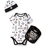 NFL New Orleans Saints Bodysuit, Bib & Cap Set, 3-6 Months, Black