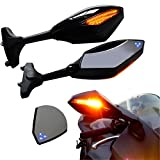 Glossy Black Integrated Amber LED Turn Signal Indicator Rearview Side Mirrors Smoke Lens For Honda Kawasaki Suzuki Yamaha Racing Sport Bike