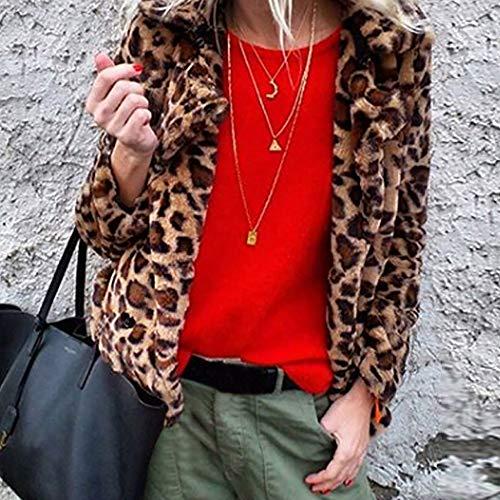 Piel Mujeres Larga Invierno Cardigan Blusa Cinnamou Manga Sintética Cálido Cortas Abrigos Leopardo Chaqueta Outwear Marrón Impreso De wSxq4