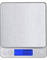 Leiking Digital Kitchen Scale, 500g 0.001oz/ 0.01g Pocket Cooking Scale, Mini Food Scale, Pro Electronic Jewelry Scale with Back-Lit LCD Display, Tare & PCS Functions, Stainless Steel