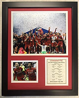 """Legends Never Die English Premiership Liverpool FC 2019 UEFA Champions League Champs Framed Double Matted Photos, Champions, 12"""" x 15"""" 13079U"""