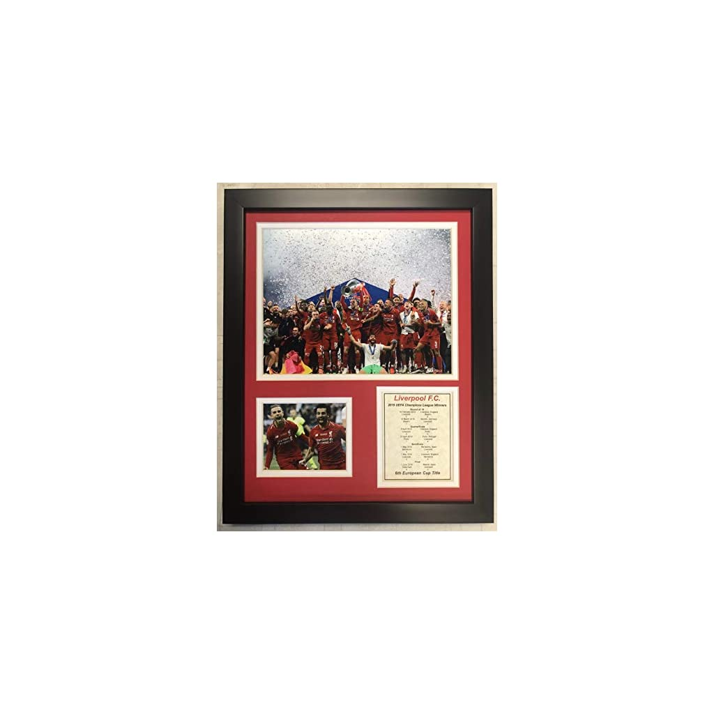 Legends Never Die English Premiership Liverpool FC 2019 UEFA Champions League Champs Framed Double Matted Photos, Champions, 12″ x 15″ 13079U