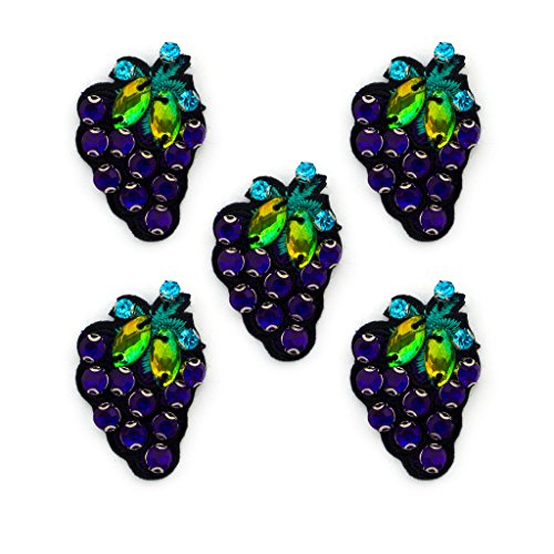 Purple Berry Grapes Diamonte Sew-On Trims on Embroidered Back - for Blouses, Skirts, Coats, Bags and Accessories - Pack of 5 by HAND