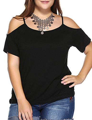 Allegrace Women Plus Size Off Shoulder Spaghetti Strap T Shirt Casual Tee Top Black 4X