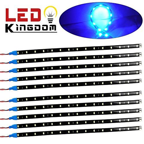 LEDKINGDOMUS 10x Flexible Strip 30cm 15 LED Ice Blue Car Truck Motorcycle Light Waterproof 12V