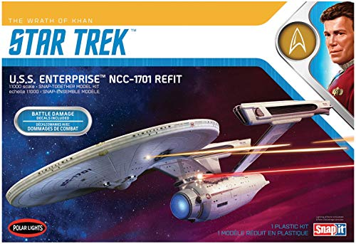 Polar Lights Star Trek U.S.S. Enterprise Refit Wrath of Khan Edition 2T 1/1000 Scale Snap Together Space Ship Model Kit TV Show Replica (NO Glue Required)