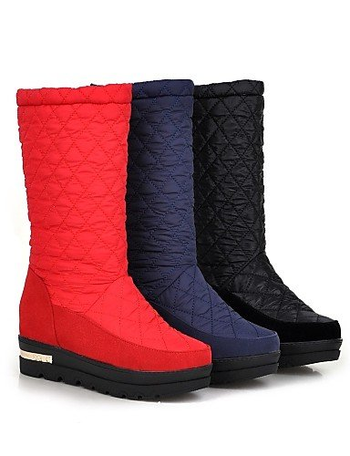 Botas Uk3 Red Red Mujer Azul us5 Negro Zapatos Plataforma Eu36 Vestido Cn35 Xzz Casual De Redonda Nieve Rojo Cn36 us6 Uk4 5 Punta 5 Semicuero 61UqEIwx