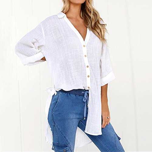 Clearance!Youngh 2018 New Womens Blouses Shirts Women Plus Size Loose Shirts Button Long Tops Solid Cotton T-shirt Daily Casual Fashion Blouses: Amazon.com: ...