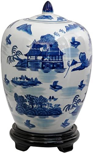 Oriental Furniture 11 Landscape Blue White Porcelain Vase Jar