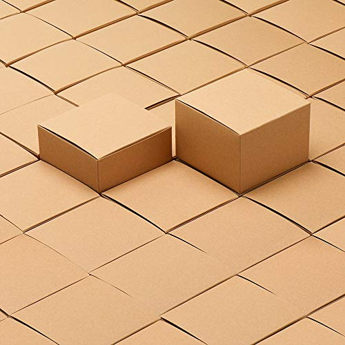 MESHA Kraft Boxes 5 x 5 x 3.5 Inches, Brown Paper Gift Boxes with Lids for Gifts, Crafting, Cupcake Boxes (25)