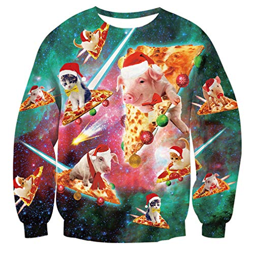 Unisex Xmas Sweater Pizza Cat Santa Pig Print Pullover Ugly Christmas Sweatshirt for Women]()