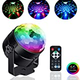 Party Lights Sound Activated,Crystal Magic Rotating Disco Light,Disco Ball Lamps with Multi-Color Disco Lamps,3W RGB LED Stage Lighting for KTV,X'mas Party,Wedding Show,Club Pub DJ Lighting