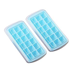 Riverbyland Blue Ice Cube Trays with Cover 18 cubes Set of 2