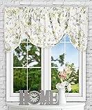 Simple Comfort Abigail Traditional Hydrangea Floral Print (Tie-Up Valance, 60 x 22″, Porcelain)