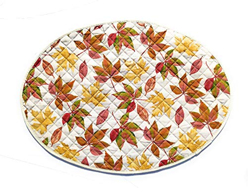 Harvest Season Fall Thanksgiving Placemats Set of 4 (Falling Leaves Reversible Quilted)