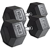 Cheap Pair 95 lb Black Rubber Coated Hex Dumbbells Weight Training Set 190 lb Fitness