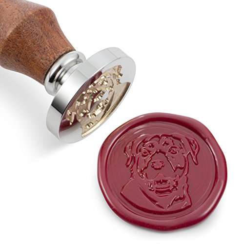 Mceal Wax Seal Stamp, Silver Brass Head with Wooden Handle, Pet Dog Series: Rottweiler