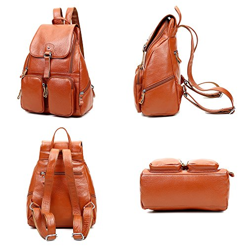 Genuine Greeniris Ladies Rucksack Leather teenage Girls For Brown Backpack Women Fashion OwUFRqw