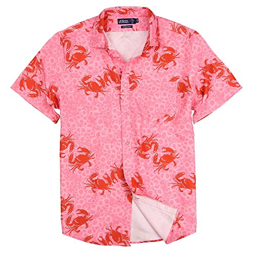 Urban Boundaries Men's Lightweight Short Sleeve American Flag Beach Pineapple Shirts (Mr. Crabby, Slim Fit: X-Large)