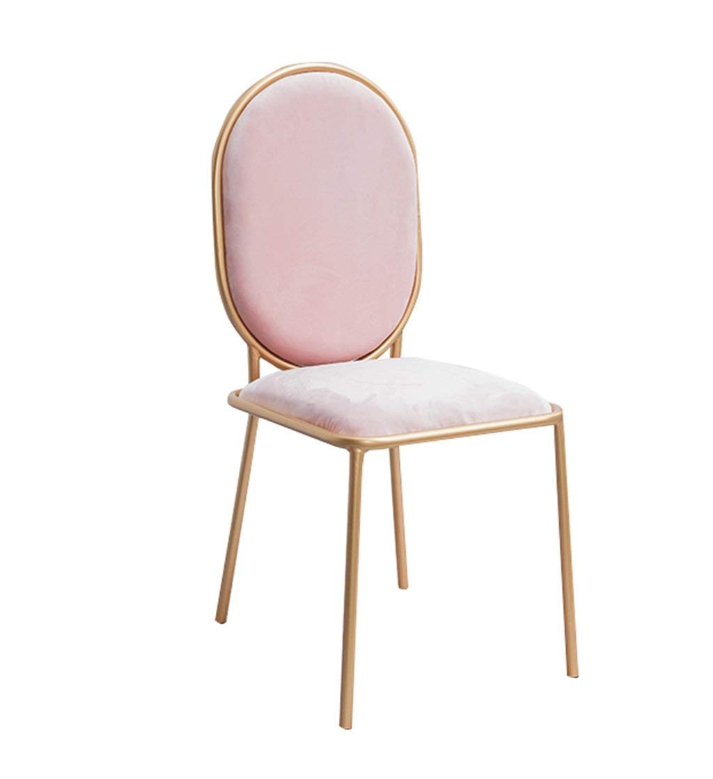 Pink 455098CM Bedroom Dressing Stool, gold Iron Art Cloth Armchair Tea Shop Coffee Shop Dining Chair Clothing Store Decorative Chair, 44-45CM Home bar Chair (color   bluee, Size   44  48  98CM)