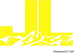 UR Impressions BYel JL Mountains Decal Vinyl Sticker Graphics for Jeep Wrangler 4x4 Unlimited Sport Sahara Altitude Rubicon Moab SUV Walls Windows Laptop|Bright Yellow|7.5 X 4.4 inch|URI733-BY