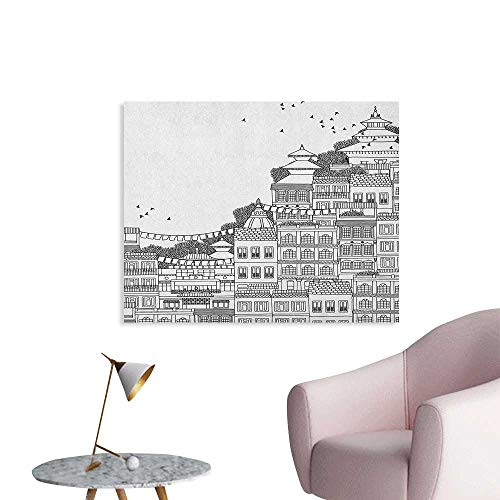 Anzhutwelve Nepal Wallpaper Hand Drawn Monochrome Scene from Kathmandu Urban Life Illustration Buildings Poster Paper Black and White W36 xL24]()