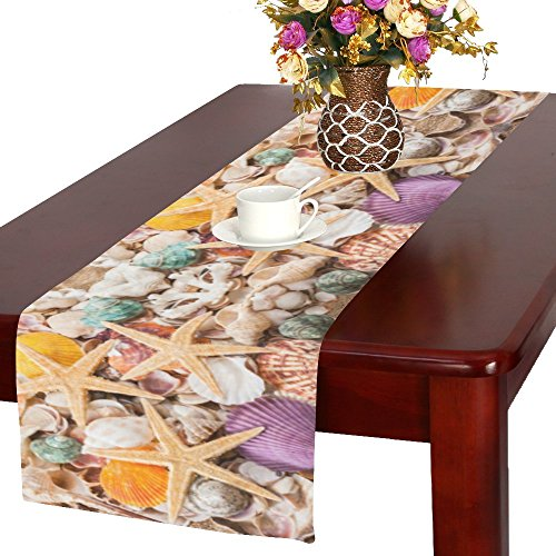 InterestPrint Summer Tropical Beach Seashell Starfish Long Table Runner 16 X 72 Inches, Colorful Sea Ocean Shell Rectangle Tablecloth Placemat for Office Kitchen Dining Wedding Home (Summer Fashion Accessories Shell)